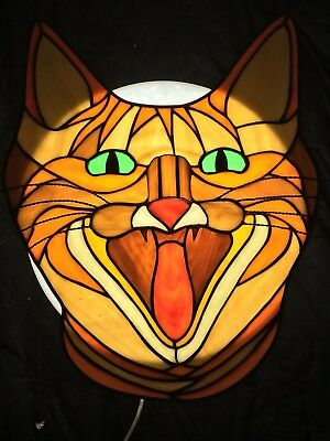 Vintage STAINED GLASS Suncatcher COUGAR Cat Mountain Lion Large
