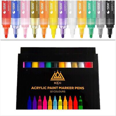 BKC Acrylic Paint Marker Pen Set, 12 colours, Paint Pens for Rocks, Glass, Wood