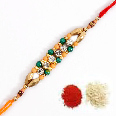 New Fancy Rakhi Rakhee Rakshabandhan + Shubh Tikka INDIA USA UK EUROPE AUSTRALIA