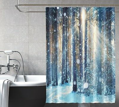 3d Sun Snow Woods 7 Shower Curtain Waterproof Fiber Bathroom Home Windows Toilet Home & Garden Home & Garden