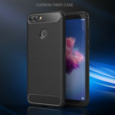 Carbon Fiber+TPU Silicone Soft Full Back Cover Case For Huawei PSmart Y5/Y6 2018