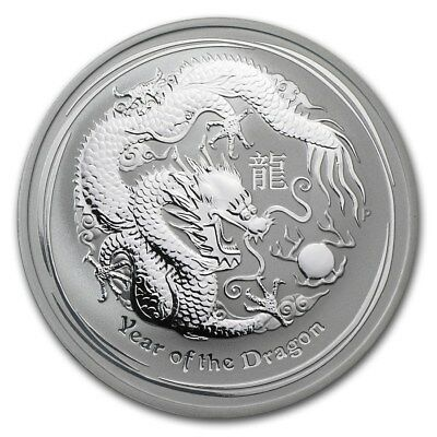 2012 Australian Lunar Year Of The Dragon Series II 1 oz Silver Capsuled BU Coin