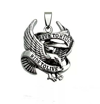 VINTAGE STAINLESS STEEL Live To Ride Eagle Harley Pendant Necklace