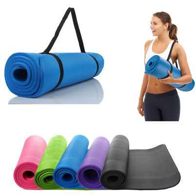 Extra Thick Non-slip 10mm Yoga Mat Pad Cushion Exercise Fitness Pilates w/ Strap