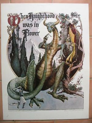DRAGON Fantasy Poster GEORGE BARR WHEN KNIGHTHOOD WAS IN FLOWER 17x22 1974 MINT-