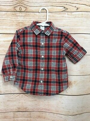 Janie And Jack Baby Boy Button Up Long Sleeve Cuffed Shirt Size 18-24 Months