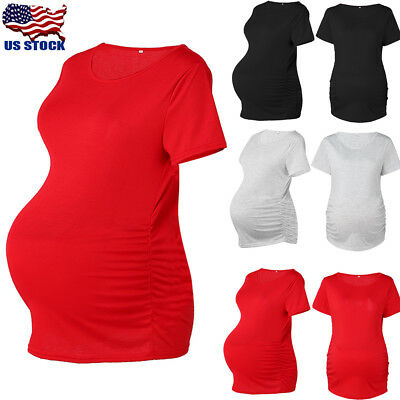 Women Maternity Clothes Short Sleeve T-shirt Pregnancy Casual Tops Blouse Tee US
