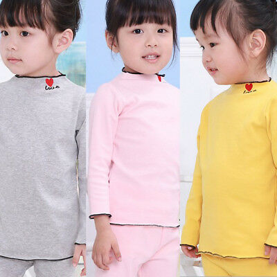 Cotton Kids Newborn Baby Girls Boys Tops T-shirt Blouse Solid Color Clothes 0-5Y
