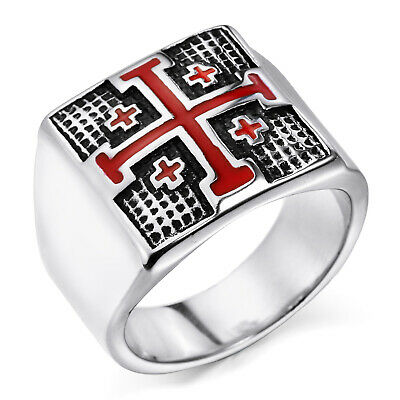 MENDINO Mens Stainless Steel Crusader Jerusalem Cross Knight Templar Ring Silver