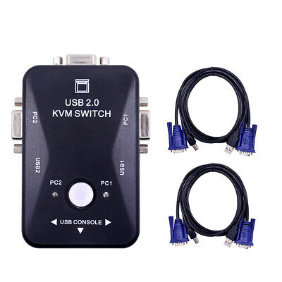 2 Port USB KVM VGA Switch with 2 Set Cable For Mouse Keyboard Monitor PC