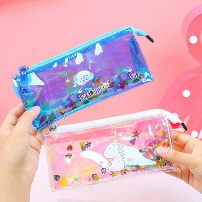 Unicorn Transparent Pencil Case Shiny Laser PVC Bags Stationery Pouch Coin Purse