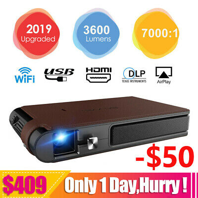 Portable Mini DLP 3D Projector WiFi Airplay Miracast Meeting Cinema HD 3600lumen
