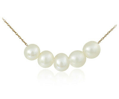 10K Solid Gold 7mm 5 White Genuine Freshwater Pearl Pendant and Chain Jewelry
