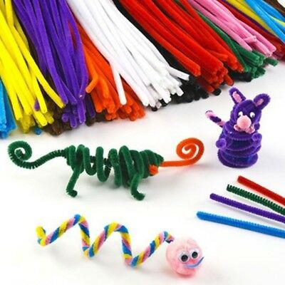 100Pcs Long Chenille Stem Pipe Cleaners Tinsel 30cm Creative Colorful Stic-,