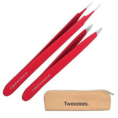 Tweezees Precision Stainless Steel Tweezers - Professional Slant Tip & Splinter