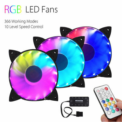 3PCS RGB Adjustable LED Cooling Fan 120mm With Controller + Remote For Computer