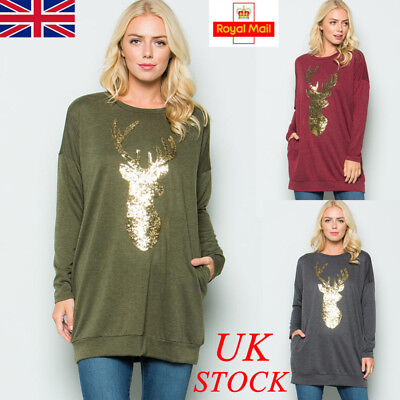 UK Womens Christmas Deer Long Sleeve Shirt Ladies Blouse Tops Plus Size T-Shirt