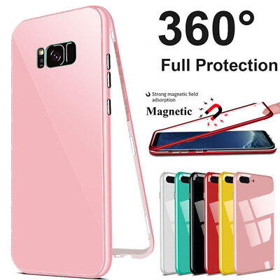 For Samsung  Galaxy Note 8 S7 S9 Plus 360° MAGNETIC Hard Glass Phone Cover Case