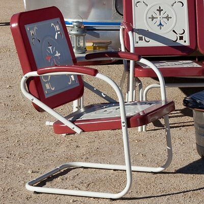 Retro Metal Arm Chair Vintage Style Deck Porch Garden Patio Pool Chair Furniture