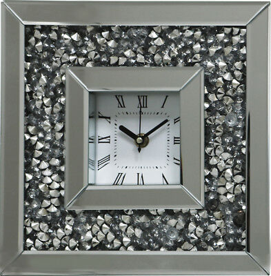 Gatsby Modern Crushed Crystal Diamond Mirror Glass Square Table Clock Silver