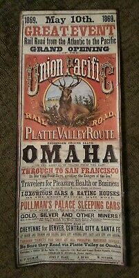 "UNION PACIFIC RAILROAD GREAT EVENT MAY 10 1869 large 15""X36"" poster."