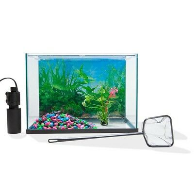 Aquarium fish Glass tank Starter set 20L Kit with fish net and colourful gravel