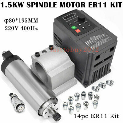 1.5KW ER11 CNC Spindle Motor Air Cooled VFD Drive Inventer Mount Bracket Collet