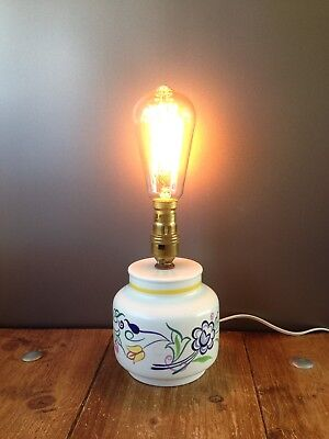 Retro 50'S 60'S Poole Pottery Bn 3 Floral Bedside Lamp Base Mid Century Vintage