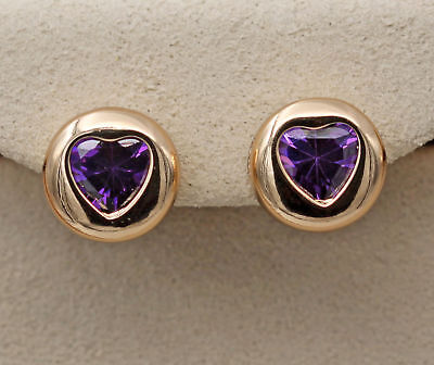 18K Gold Filled - Amethyst Round Circle Heart Gemstone Ball Lady Stud Earrings