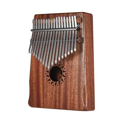 17-Key Portable Kalimba Mbira Thumb Piano Mahogany Solid Wood Musical V7M4