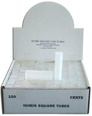 High Quality Square Coin Tubes US Cent Penny Size Box of 100 Safe Storage NUMIS