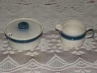 Vintage WEDGWOOD BLUE PACIFIC Cream & Sugar Bowl Made in England VGC