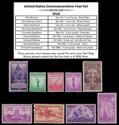 1940 US Postage Stamps Complete Commemorative Year Set Mint