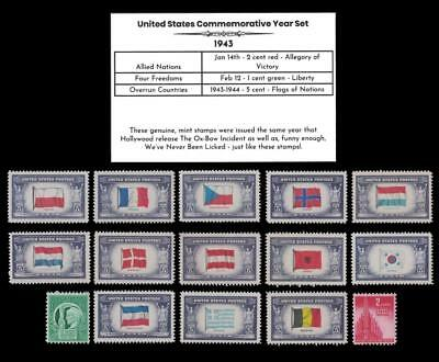 1943 US Postage Stamps Complete Commemorative Year Set Mint