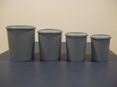 Vintage Used Eight Piece Set Of Tupperware Canisters Cornflower Blue Almost Gray