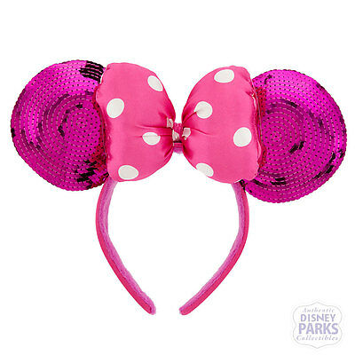 Disney Parks Minnie Mouse Ears Headband Pink Sequin w/ Satin Plush Bow