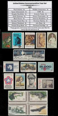 1971 US Postage Stamps Complete Commemorative Year Set Mint