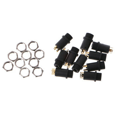 10 Pcs 3.5mm 4 Channel Female Headphone Stereo Jack Panel Mount Connector Golden