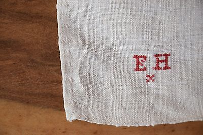 Antique Rustic C. 1870 French Tablecloth Pure Hemp Homespun Centre Seam