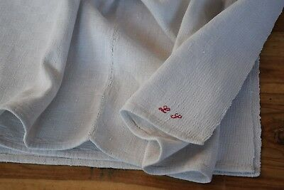 Antique Rustic C. 1890 French Tablecloth Pure Linen Homespun Centre Seam