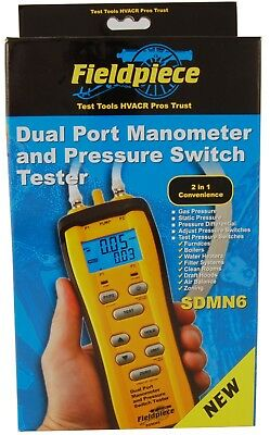 Fieldpiece SDMN6 Dual Port Manometer and Pressure Switch Tester w/ Probes - Case