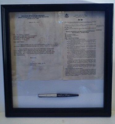 1972 Congressional Drug Abuse Act Framed W/ Pres. Nixon Ceremonial Signing Pen