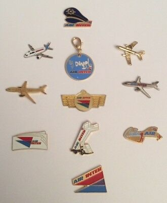 Lot 10 Pin's AIR INTER + Token Former French AIrline Merging Company AIR FRANCE