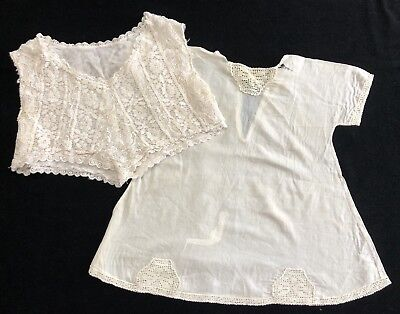 Antique Handmade Lace Dickie Collar & Baby Gown for Restoration (RF816)