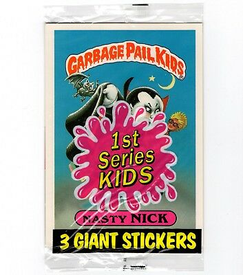 1986 GARBAGE PAIL KIDS Series 1 SEALED GIANT PACK w/ 3 Cards NASTY NICK #1 top