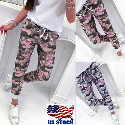 Women Camo Cargo Trousers Casual Pants Military Army Combat Camouflage Jeans USA