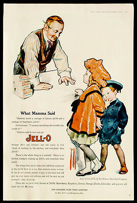 1919 JELL-0 JELLO Cute Girl & Boy at Country Store ROSE O'NEILL Art Vtg PRINT AD