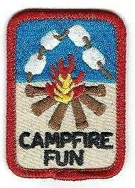 Girl Boy Cub CAMPFIRE FUN Patches Crests Badges SCOUTS GUIDES Songs Smores Light