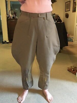 """Vintage Military Pre Ww2 Mens Fall Front Breeches Size Moss Bros 34"""" Waist"""