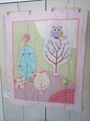 Lolli Living Surina Girls Quilt Wall Hanging Owl Trees Floral Pink Purple NWOT